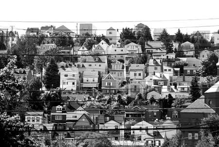 the dwelling: black and white of urban dwelling - rows of houses