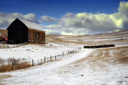 Pennsylvania farmland with barn in winter