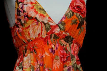 colorful floral print dress on mannequin Banco de Imagens