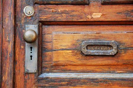 old wooden door with antique door knob Stock Photo - 3800260