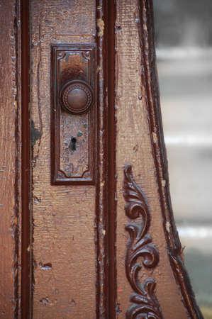 door knob: antique door brown wooden door with glass Stock Photo