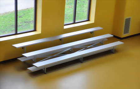 bench seating in a recreational facility