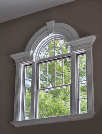 arched window with ornate molding