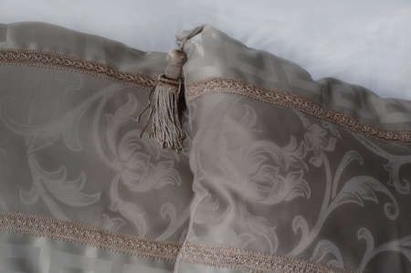 two pretty beige decorative pillows with tassels