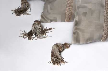 pretty decorative beige pillows with tassels against white background