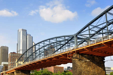 view of the Smithfield Street Bridge from the water of the Allegheny River - oldest bridge in the county