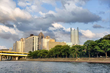 view of the city of Pittsburgh from river