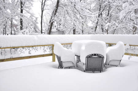 Home patio after a heavy downfall of snow  Blizzard of 2010 in the East Coast