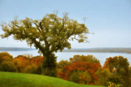 Scenic autumn view of the Potomac River from Mt  Vernon  Stock Photo