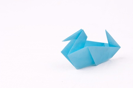 Blue Origami duck isolated on white background Stock Photo