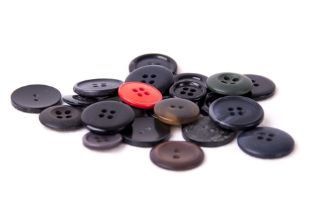 Assorted black and red buttons isolated on white background Stock Photo