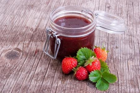 Jar of strawberry jam Stock Photo