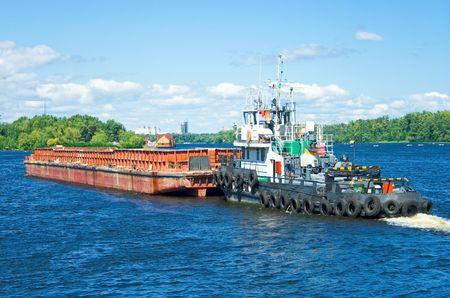 barge: Container barge. Kiev. Ukraine. Stock Photo