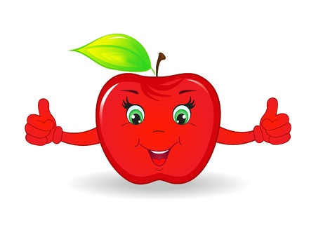 red happiness: Cartoon happy apple isolated on white background