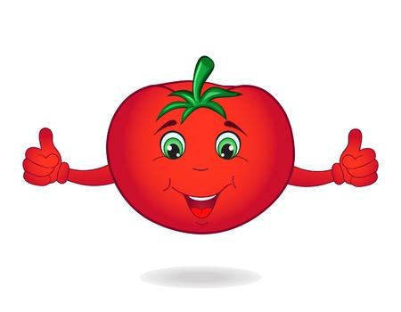 白い背景で隔離のスマイリー漫画トマト  イラスト・ベクター素材