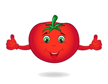 Smiley cartoon tomato isolated on white background