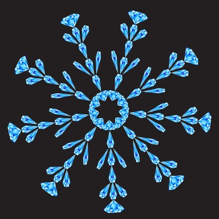 illustration of diamond snowflake on dark background. Vector