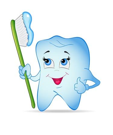 pasta dientes: Diente de Smiley con cepillo de dientes. Ilustraci�n vectorial.