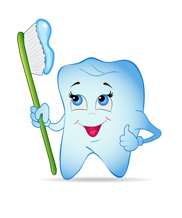 molar: Smiley tooth with toothbrush. Vector illustration.