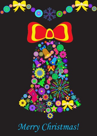 Abstract Cristmas bell on black background Vector