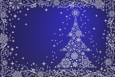 and shining: Abstrat white Christmas tree on blue background
