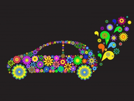 descriptive: Flower car isolated on black background