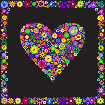 Greating floral heart.Valentine Card.  Vector