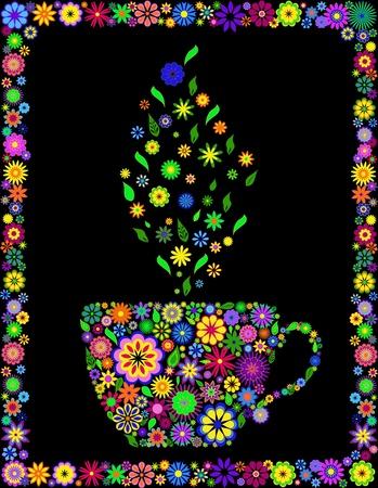 chinese tea cup: Ilustraci�n vectorial de taza de flor de t� aislado