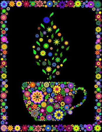 steam: Vector illustration of flower cup of tea isolated