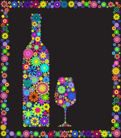 Floral    wine bottle and glass isolated on black background Vector