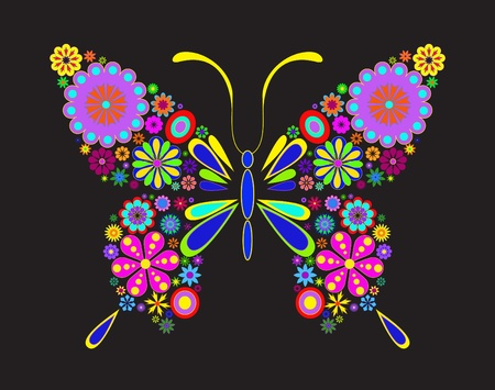 Illustration of butterfly isolated on black background Vector