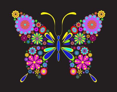mariposa azul: Ilustración de mariposa aislada sobre fondo negro Vectores