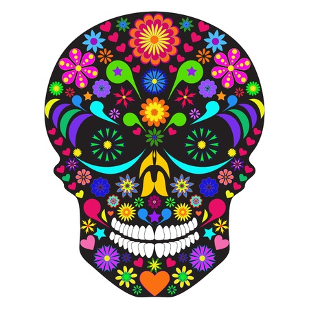 Illustration of flower skull isolated on white background. Vector