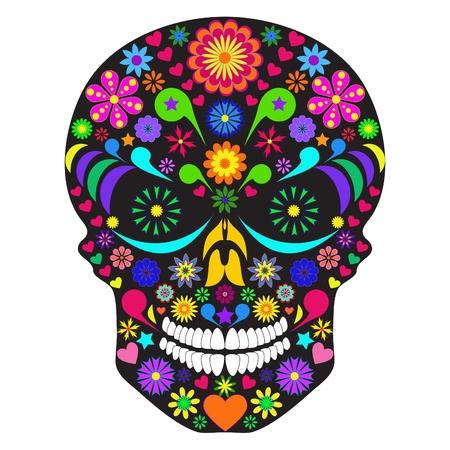 dia de muertos: Ilustración del cráneo de flor aislada sobre fondo blanco.