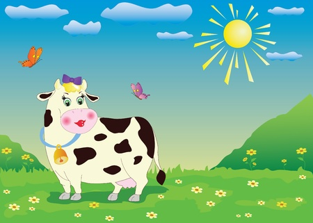 Illustration of cartoon cow in the green meadow