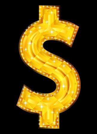 dollar sign: Illusrtation of dollar sign isolated on black background Illustration
