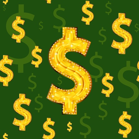 Seamless background with dollar signs.  Vector