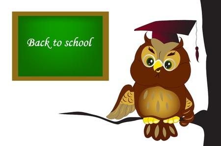 Illustration of cartoon owl at school Vector