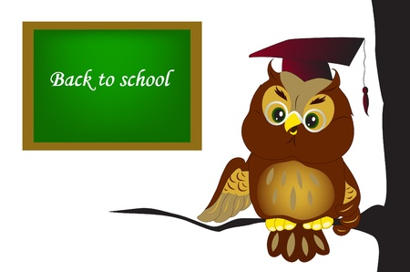 Illustration of cartoon owl at school Vector