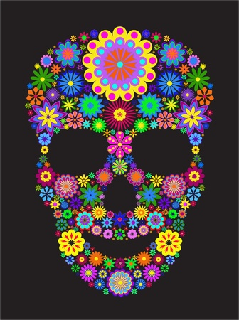 Illustration of flower skull isolated on black background. Vector