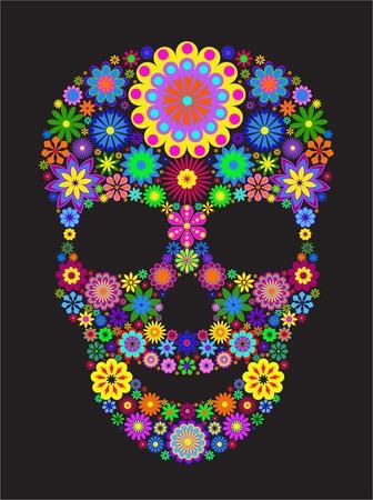 dia de muerto: Ilustraci�n del cr�neo de flor aislada sobre fondo negro.