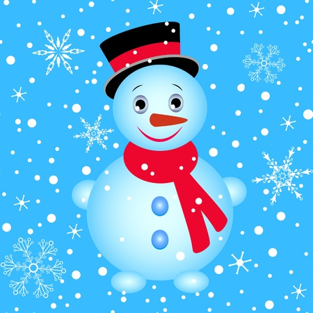 Seamless winter pattern with snowman and snowflakes Vector