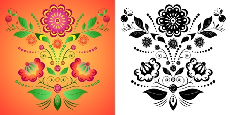 Illustration of colorful flower on orange background. Illustration on  black and white flowers isolated on white. Vector
