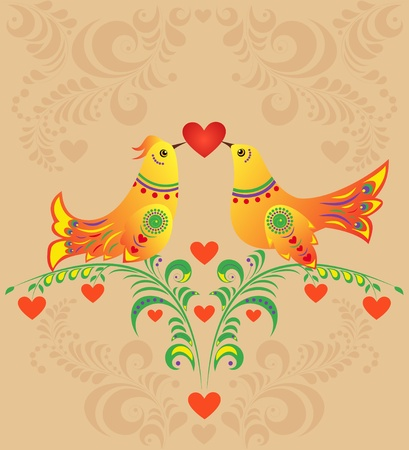 Valentine`s card with  colorful bird couple.  Vector