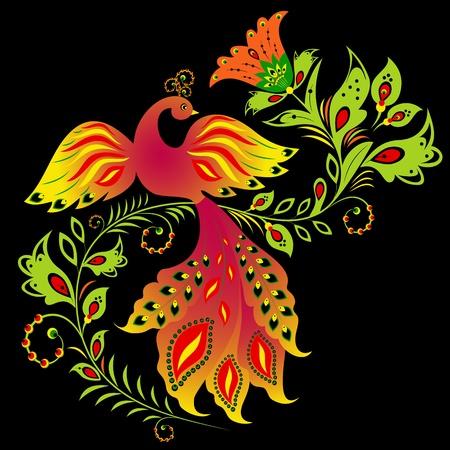 hohloma: Illustration of traditional Russian ornament