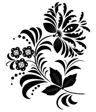flora:  Illustration of  black abstract flower isolated on white. Illustration