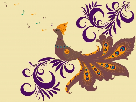 singing bird: Illustration of  singing colorful bird and abstract plant Illustration