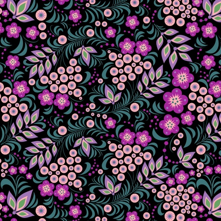 Illustration of seamless pattern of colorful flower on black background. Vector