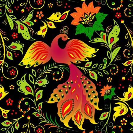 Ilustración de patrón transparente con pájaros y flores abstractas