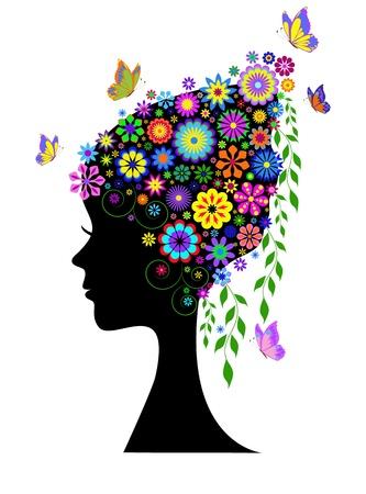 femme papillon: Illustration de la silhouette de la jeune fille aux cheveux de fleurs